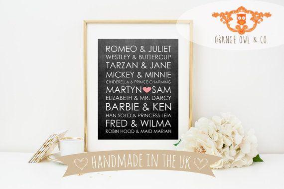 Personalised Famous Couples Subway Art Wedding by OrangeOwlandCo