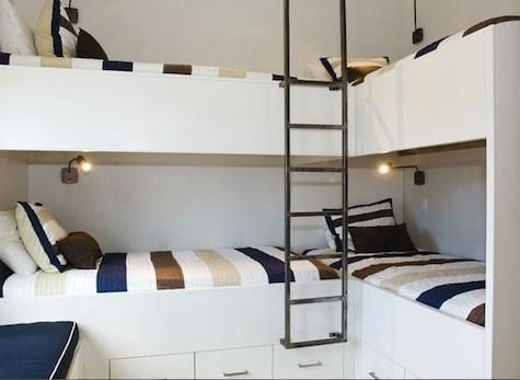 For the little house? Might be a good way to free up space...A cute bunk room for 4 - L-shaped.  This would actually fit in the room...question is would anyone sleep if they're all so close together?!