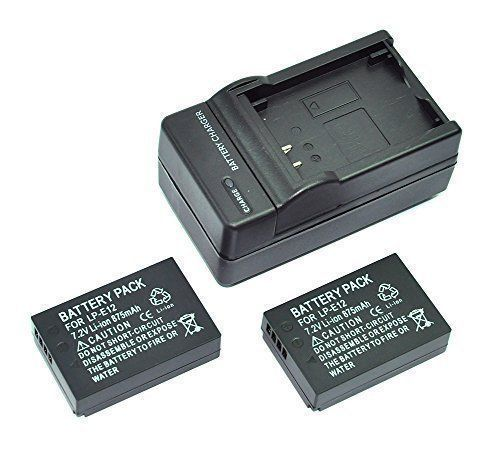 Mondpalast 2 x Replacement Battery LP-E12 LPE12 lpe12 875mAh + charger for Canon 100D, EOS M Mirrorless, EOS Rebel SL1 EOS M10