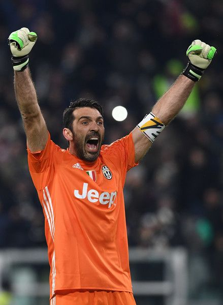 Gianluigi Buffon of Juventus FC celebrates victory at the end of the Serie A match between Juventus FC and FC Internazionale at Juventus Stadium on February 5, 2017 in Turin, Italy.
