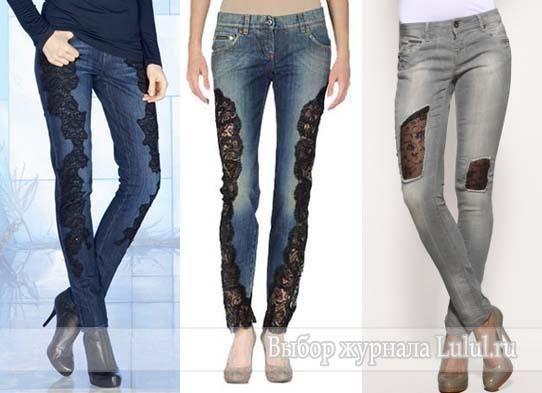 Джинсовые джинсы с кружевом