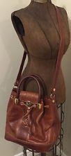 MARINO ORLANDI Brown Leather Embossed Bucket Handbag Purse! Beautiful!