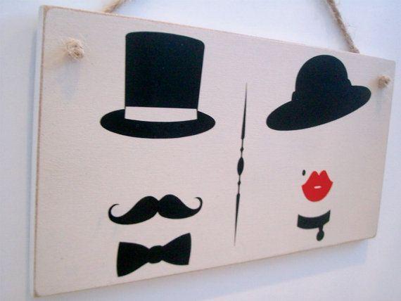 Bathroom Door Sign With Vintage Male Female Symbols