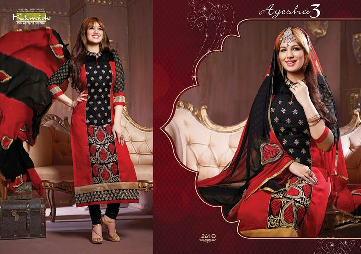 KHWAISH - AYESHA 3 Greetings for The Day !  Kindly find the attached catalogue of KHWAISH - AYESHA 3 .. Description of the same is mentioned below:-  COTTON TOP  ( UN STITCHED ) ( 2.5 MTRS ) COTTON BOTTOM  ( 2.5 MTRS ) CHIFFON DUPATTA ( 2.25 MTRS ) 12 pcs set ONLY FULL SET Shipping extra DESPATCH FROM NEXT WEEK pp on whatsapp no. + 91 9724300380 www.facebook.com/365fstudio www.365fstudio.com