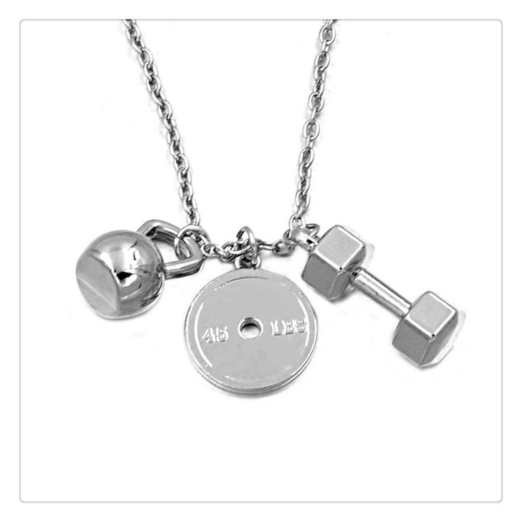 Gym Fitness Weightlifting Strength Charm Necklace