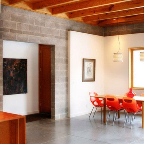 15 Brilliant Apartments with Concrete Elements... leave the cinder block unpainted!