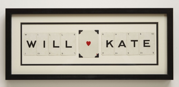Medium personalised wedding frame - made with vintage letter cards from an old spelling game