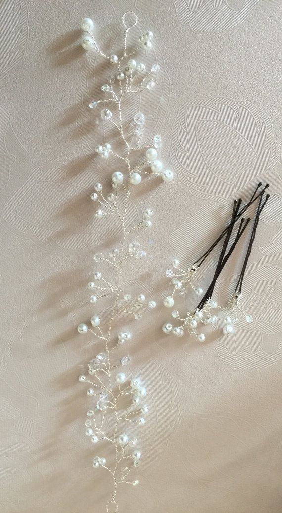 Bridal wedding pearl and crystal hair vine by DavlynBridalDesigns