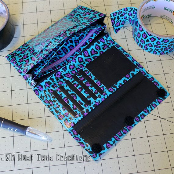 Womens Duct Tape Wallet, Accordion Trifold~Blue Leopard Print. Women Wallet/Trifold Wallet/Accordion Wallet/Homemade Wallet/Unique Wallet by JMDuctTapeCreations on Etsy #craftshout