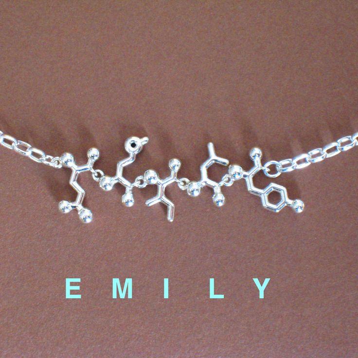 Speaking geek: necklace, spelling your name in amino acid alphabet :)