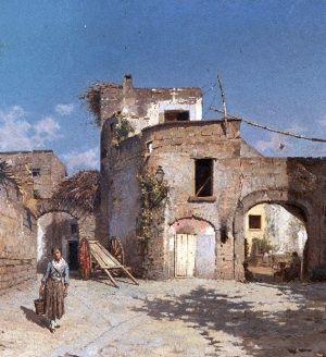 Il paesaggio dell'Ottocento rivive nella Scuola di Resina. Simonetti Alfonso Studio di case coloniche sec.XIX olio su tela 69x90 cm