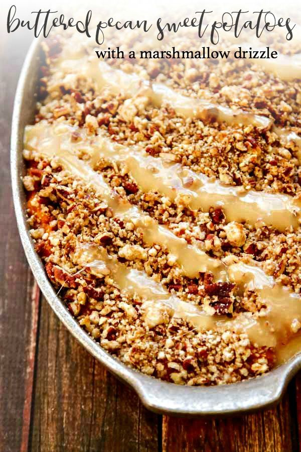 Sweet Potato Casserole With Marshmallow Drizzle And Buttered Pecan