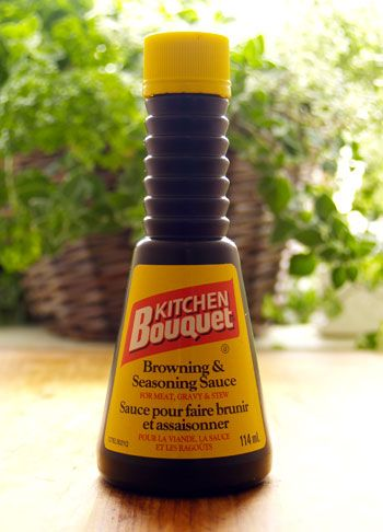 "Kitchen Bouquet is a bottled condiment sauce used as an ingredient in cooking, rather than as a table condiment. It is mostly used for its ability to add a dark brown colour. It's generically referred to as a ""browning agent."" Learn about the history of Kitchen Bouquet! http://www.cooksinfo.com/kitchen-bouquet"