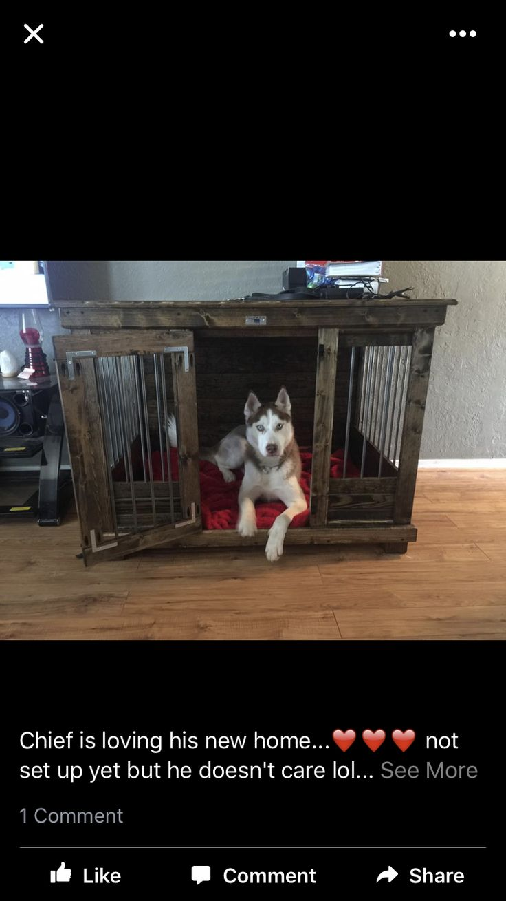Handcrafted dog kennel and dog crate. Custom dog kennel. Wooden dog kennel. Wire crate. Den for dog. Www.kennelandcrate.com