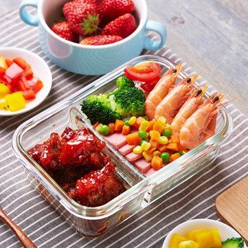 Leak-proof Glass Lunch Box with Compartments Microwave Lunch Box Divider Storage Container Cheap - NewChic Mobile.