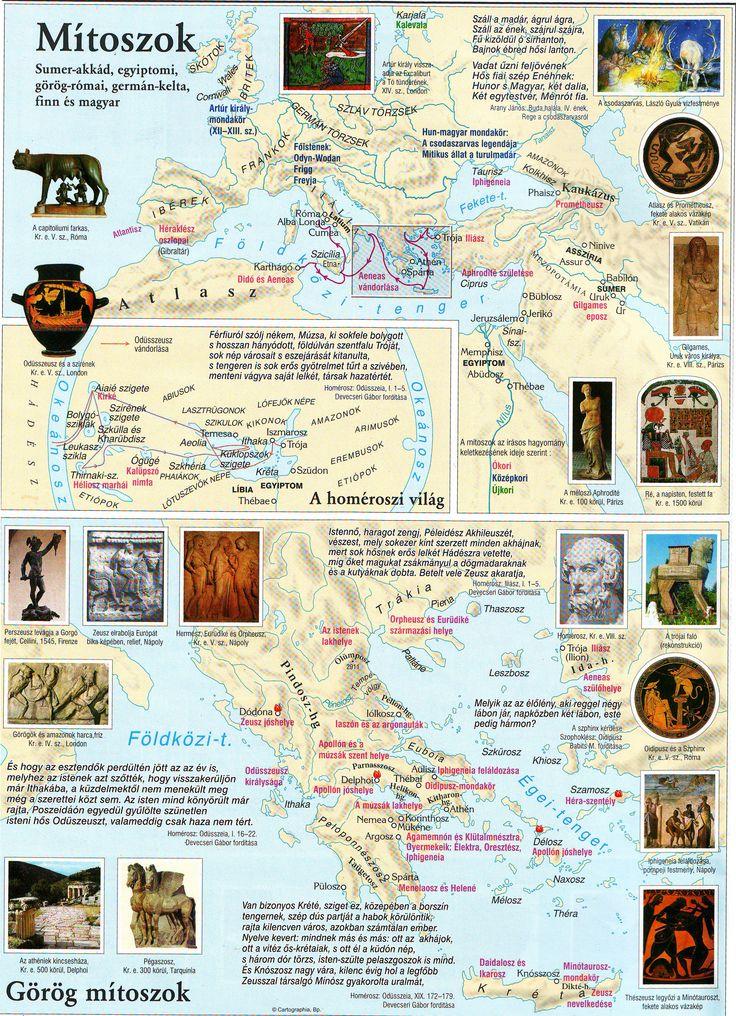 4. Gyűjts információt a térképen megjelölt görög mítoszok kapcsán, majd mutasd be azokat osztálytársaidnak! Dolgozz csoportban!