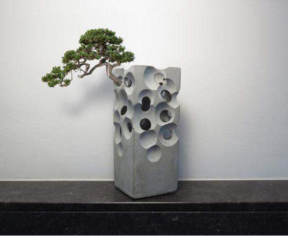 """alien concrete vase cement gray 3D gift architect planter aquarium stone block boulder """"lamp base"""""""
