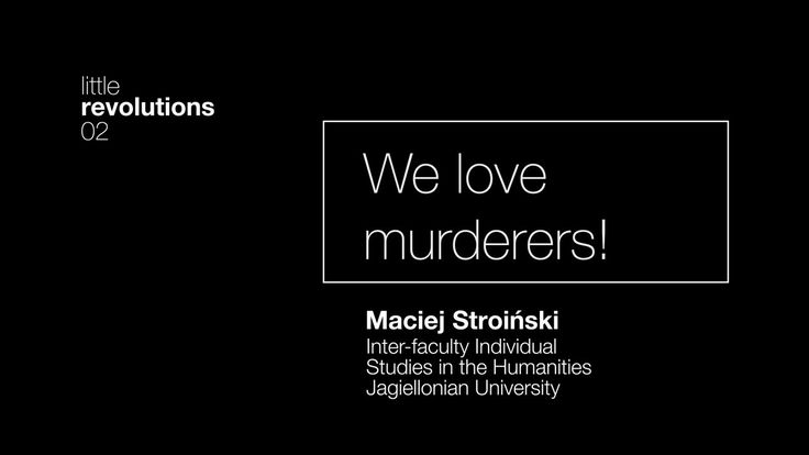 02. We love murderers! Maciej Stroiński on Vimeo // crew // creative director: Pola Borkiewicz // director of photography: Tomasz Gawroński // mapping / motion design: Tomasz Gawroński, Patryk Zimończyk // camera crew: Tomasz Gawroński, Patryk Zimończyk // music / sound: Marcin Cichy // graphic designers: Adrian Wach, Marcin Kołaczek // studio Luma