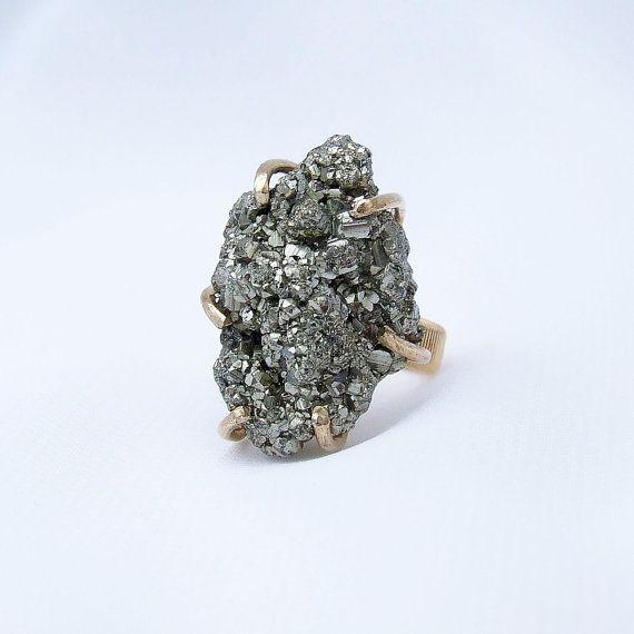 Pirite anello Druzy, pirite anello, anello di pietra grezza, pietra naturale, drusy anello, anello di pietra d