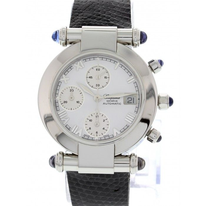 Stainless Steel case with a lizard strap. Chronograph white dial with date display. Automatic movement.