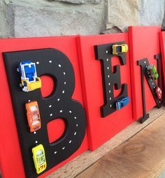 *Please note that price is per letter, not for an entire name.* Have a little one who loves cars and trucks? Want something funky and fun to perk up your childs playroom or bedroom? These bold letters with cars and trucks on canvas add a little vrrrm! vrrrm! to any space! Each letter is mounted on canvas painted the color of your choice! Please send me a message with the color(s) you would like! Each canvas can be painted the same color or a different color as in this listing.... https://...