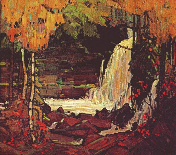 Page: Woodland Waterfall Artist: Tom Thomson Completion Date: 1916 Style: Art Nouveau (Modern) Genre: landscape