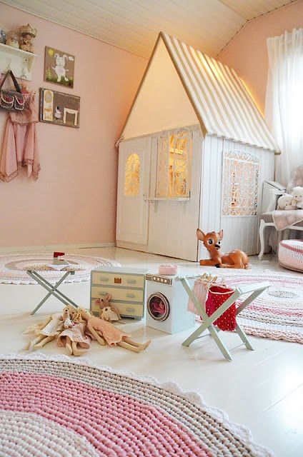 This indoor playhouse is open on top with a fabric canopy. It would be so simple to re-make this!