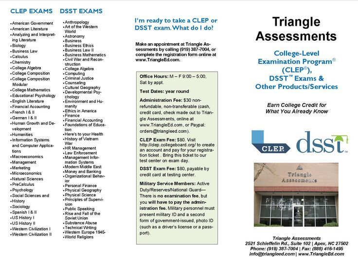 8 best clep and dsst info images on pinterest homeschool high information on clep and dsst exams at triangle education assessments apex nc fandeluxe Images