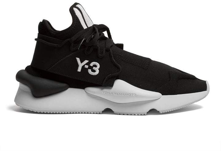 Y 3 Leather Kaiwa Knit Low Top Sneakers
