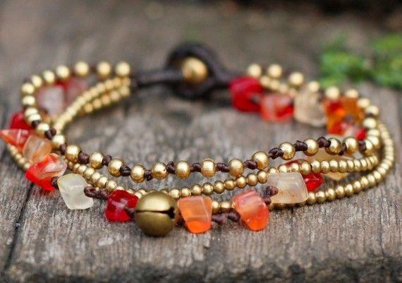 Carnelian Brass Chain Bracelet by brasslady on Etsy, $8.50