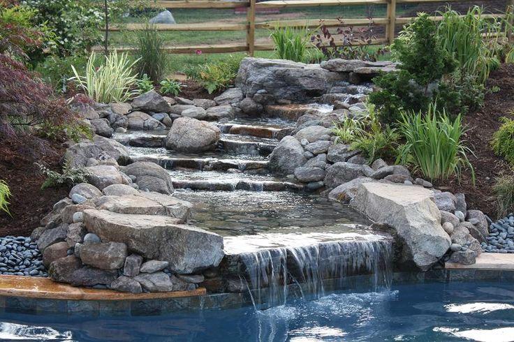 Inground swimming pool waterfalls swimming pool for Pool waterfall
