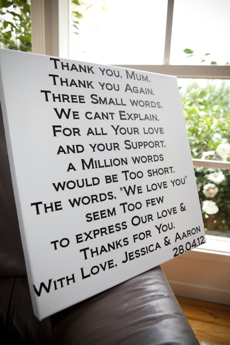 Thank you presents for parents (printed on canvas) (Inspiration from tram scrolls)