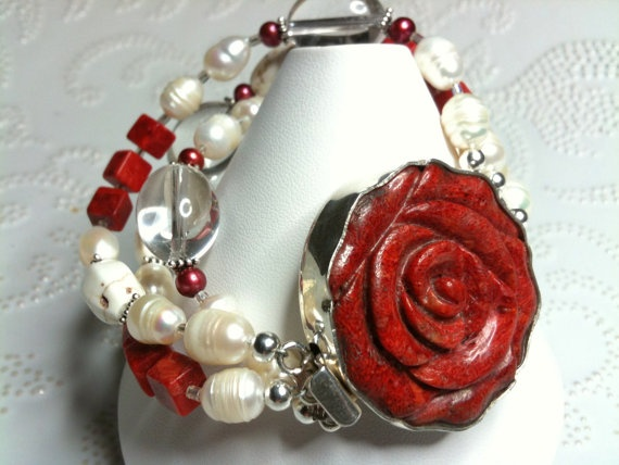 Coral & Pearls  Creamy Pearls Red Coral Magnesite by WencheDesign, $200.00