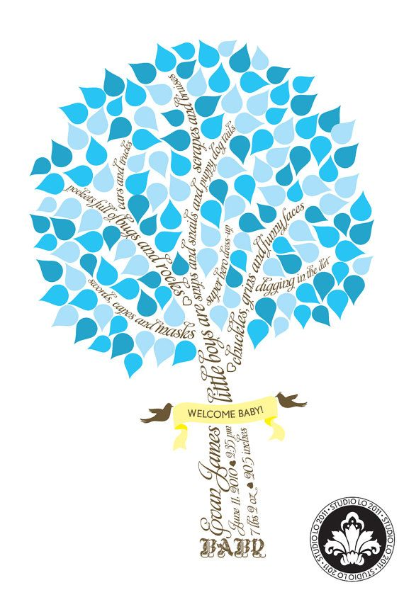 SIGNATURE BABY Shower tree. Baby boy. Guest book alternative. (T1) 13x19 - 75 signatures. StudioLO2011