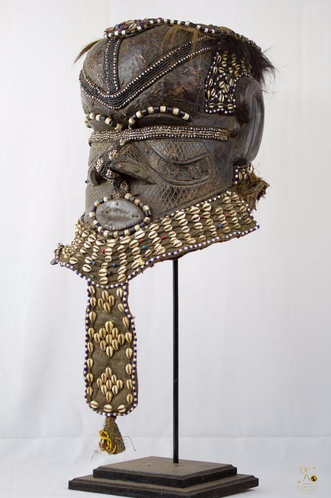 Tribal Used Kuba Royal African Helmet Bwoom - Mask Congo DRC