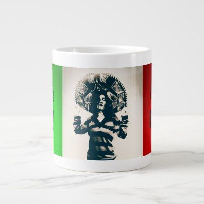 Mexican Charra - Mex Flag - El Grande Giant Coffee Mug - home gifts ideas decor special unique custom individual customized individualized