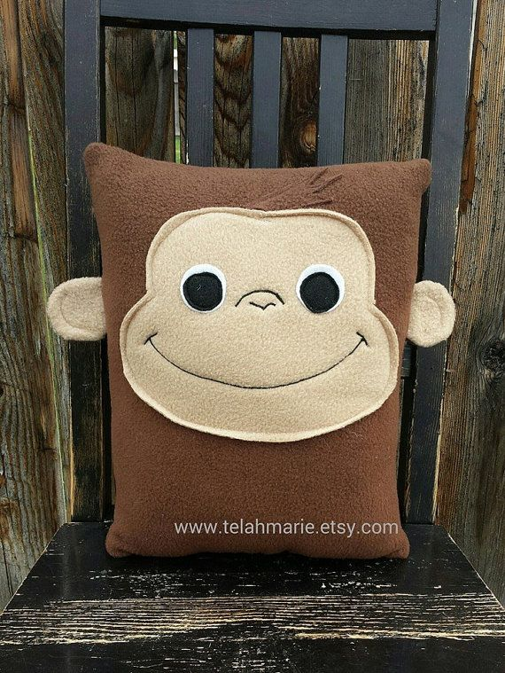Curious George Monkey Pillow Plush cushion gift door telahmarie