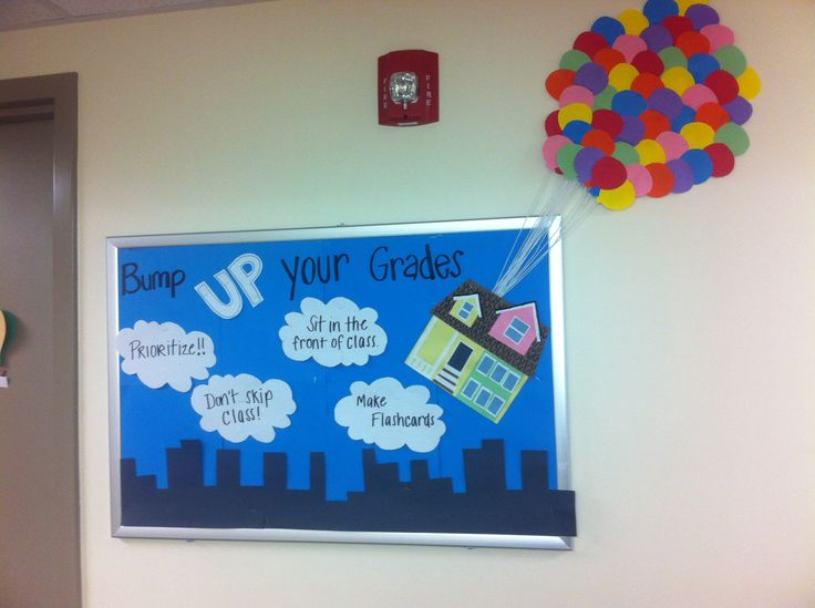 RA bulletin board - ideas for boards about RA selection since the theme is UP