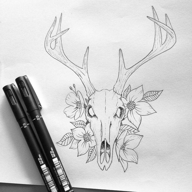 Image De Art Deer And Drawing: Beautiful Death #art #illustration #deer #skull #flower