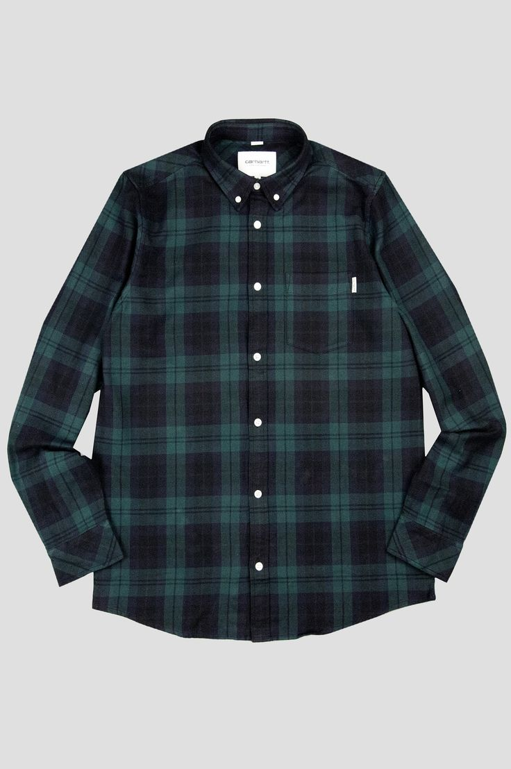 CARHARTT WIP LS BAKER SHIRT PARSLEY NAVY