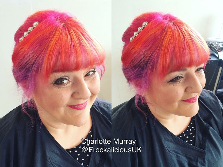 Gorgeous #HairUp for Connie. Showing off her colour perfectly. With @goldwelluk @olaplexuk @olaplex @goldwellkmsacademy  #orange #orangehair #pink #pinkhair #ombre #colour #color #olaplex #swarovski #vintage #purple #purplehair #lilac #lilachair