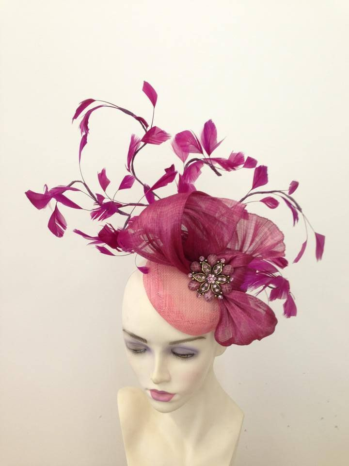 pink silk abaca and feather fascinator by Millinery by Miss Lauren