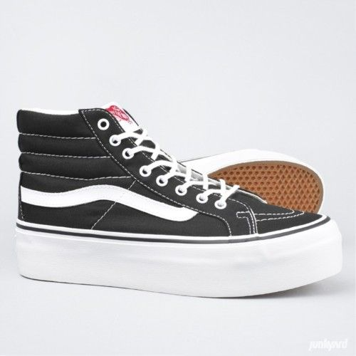 Hi Platform Vans - Canvas Black/True White