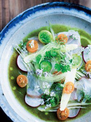 【ELLE a table】白身魚と夏野菜のセビーチェ パクチービネグレットレシピ|エル・オンライン