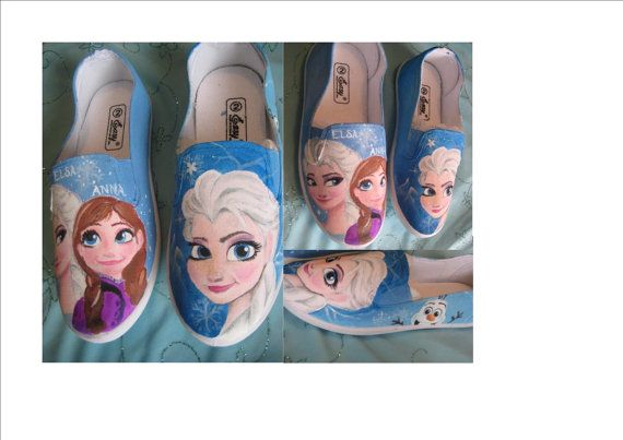Frozen Shoes Size 2 youth by RaindropDesignCo on Etsy, $40.00