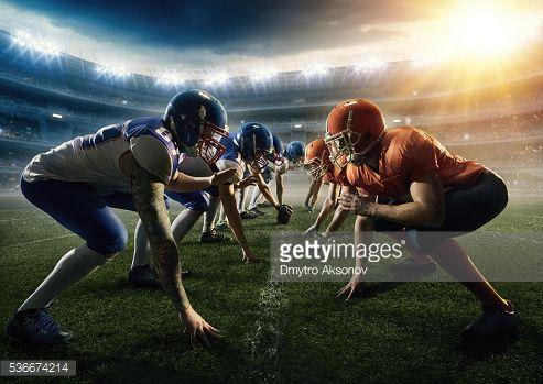 Stock Photo : American football teams head to head