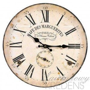 Zegar retro marki Belldeco z francuskimi napisami Cafe Des Marguerites na beżowo-brązowym tle.