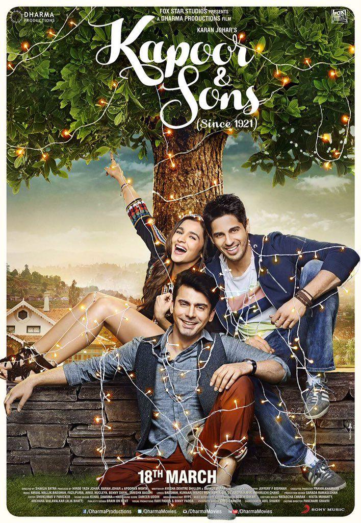 KAPOOR & SONS(2016) Aşkı,aile ilişkilerindeki sevgiyi,tartışmaları,sırları içinde barındıran,iki erkek kardeş Arjun ve Rahul ile arkadaşları Tia çevresinde dönen filmi samimi bulacaksınız.Başrollerde Sidhart Malhotra,Fawad Khan ve Alia Bhatt yer alıyor. İmdb puanı:7,9