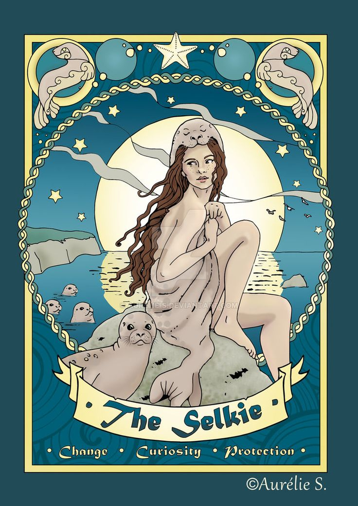 The Selkie - coloured page by Aurelie-S.deviantart.com on @DeviantArt Another legendary character featured in my Celtic Colouring Book, here colored with PS.  Click the link to buy this as a print.  Get your copie of the book from Amazon for only $9.99  or contact me to get the artist edition!