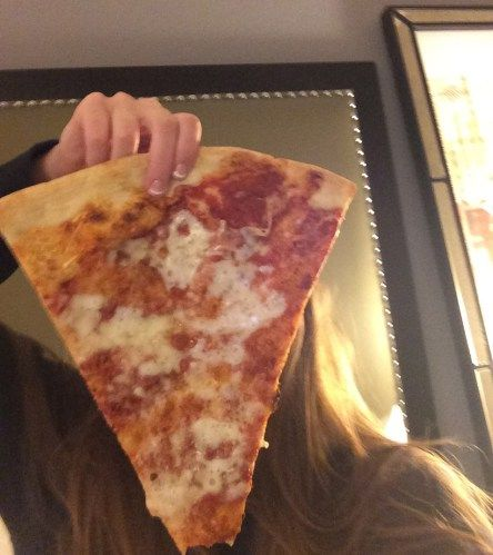 Vinnie Van Go Go's Pizza (317 West Bryan Street) ~ As you can see in the photo below the slice of pizza was larger than my head.